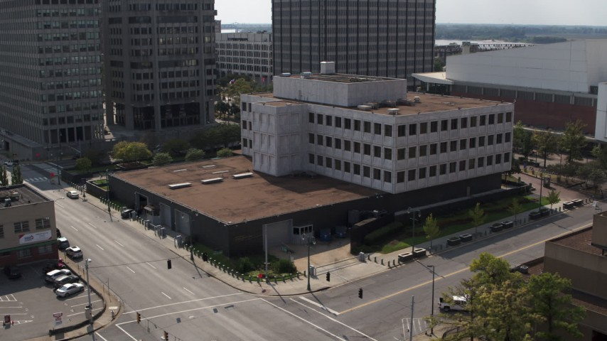 5.7K stock footage aerial video slowly orbit the Federal Reserve Bank in Downtown Memphis, Tennessee Aerial Stock Footage | DX0002_183_034