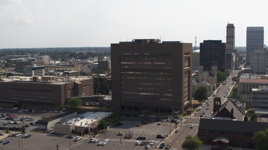 5.7K stock footage aerial video of orbiting the county courthouse in Downtown Memphis, Tennessee Aerial Stock Footage | DX0002_184_003