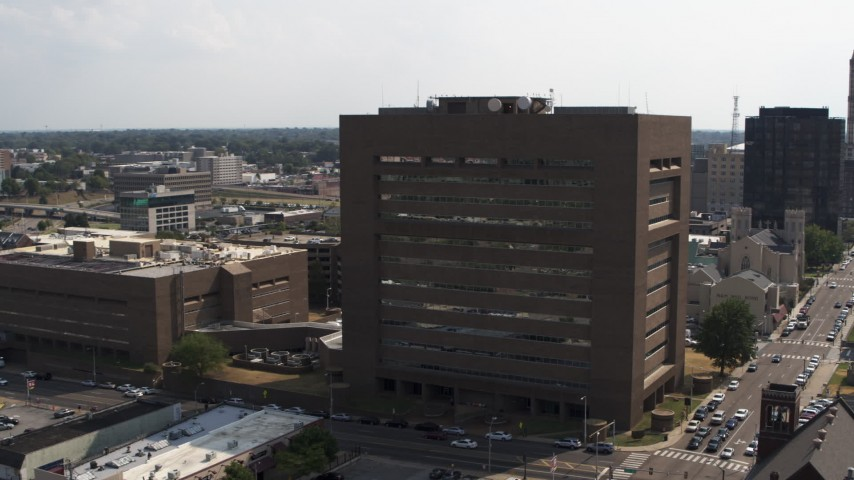5.7K stock footage aerial video of flying away from the county courthouse in Downtown Memphis, Tennessee Aerial Stock Footage | DX0002_184_005