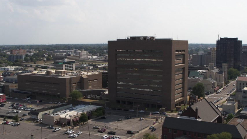 5.7K stock footage aerial video orbit the side of the county courthouse in Downtown Memphis, Tennessee Aerial Stock Footage | DX0002_184_006