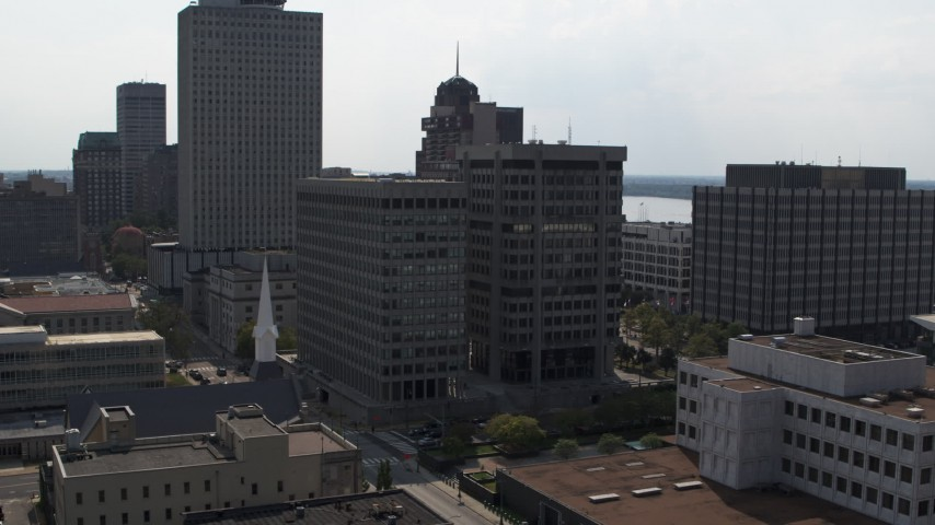 5.7K stock footage aerial video of a county government building and police station in Downtown Memphis, Tennessee Aerial Stock Footage | DX0002_184_008