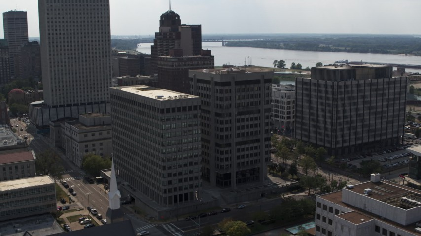 5.7K stock footage aerial video of orbiting a county government building and police station in Downtown Memphis, Tennessee Aerial Stock Footage | DX0002_184_009