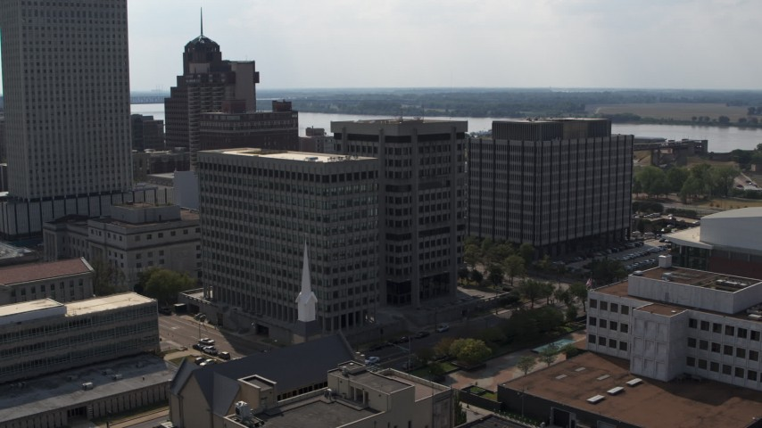 5.7K stock footage aerial video of an orbit of a county government building and police station in Downtown Memphis, Tennessee Aerial Stock Footage | DX0002_184_010