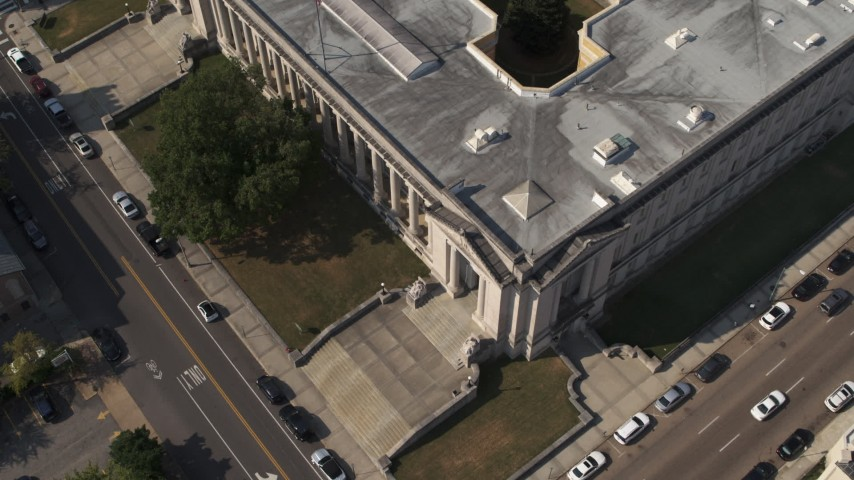 5.7K stock footage aerial video a bird's eye view of courthouse, Downtown Memphis, Tennessee Aerial Stock Footage | DX0002_184_026