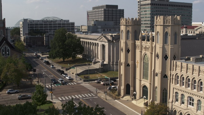 5.7K stock footage aerial video of courthouse and church in Downtown Memphis, Tennessee Aerial Stock Footage | DX0002_184_028