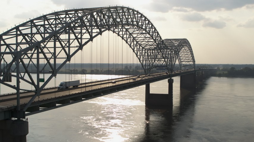 5.7K stock footage aerial video of traffic on the bridge near Memphis, Tennessee Aerial Stock Footage | DX0002_185_012