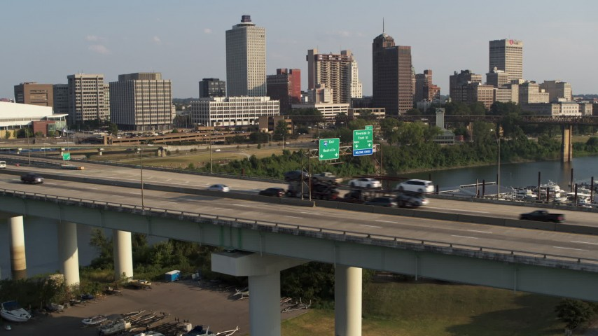 5.7K stock footage aerial video of traffic on the bridge near the skyline, Downtown Memphis, Tennessee Aerial Stock Footage | DX0002_185_013