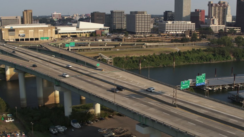 5.7K stock footage aerial video of a static view of traffic on the bridge in Memphis, Tennessee Aerial Stock Footage | DX0002_185_019