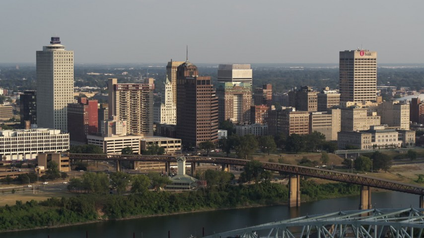 5.7K stock footage aerial video stationary view of the skyline seen from the top of the bridge at sunset, Downtown Memphis, Tennessee Aerial Stock Footage | DX0002_185_023