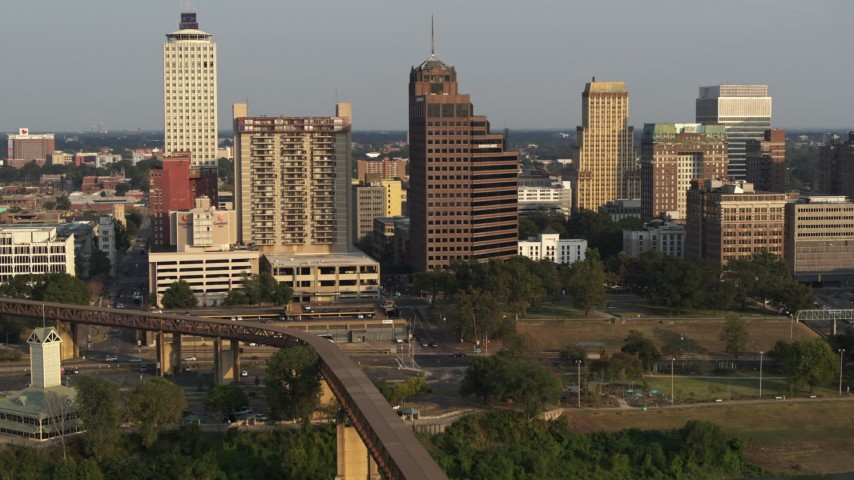 5.7K stock footage aerial video of an orbit of an apartment complex and office tower at sunset, Downtown Memphis, Tennessee Aerial Stock Footage | DX0002_185_038