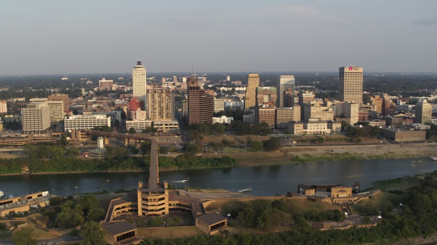 5.7K stock footage aerial video of a wide orbit around the downtown skyline at sunset, Downtown Memphis, Tennessee Aerial Stock Footage | DX0002_186_004