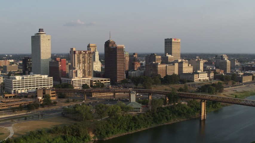 5.7K stock footage aerial video of circling the downtown skyline at sunset, Downtown Memphis, Tennessee Aerial Stock Footage | DX0002_186_006