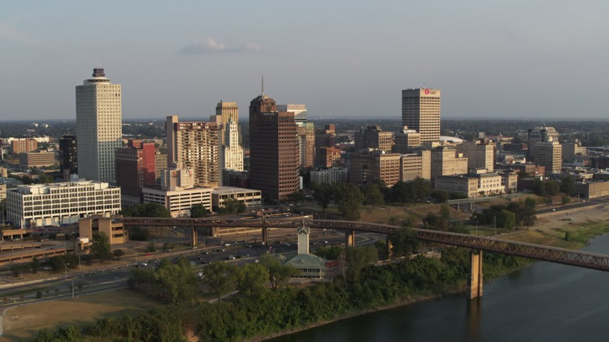 5.7K stock footage aerial video orbit downtown skyline at sunset, Downtown Memphis, Tennessee Aerial Stock Footage | DX0002_186_007