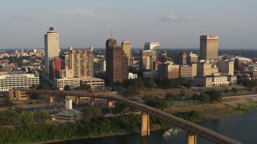 5.7K stock footage aerial video orbit downtown skyline at sunset, focus on apartment and office high-rises, Downtown Memphis, Tennessee Aerial Stock Footage | DX0002_186_008