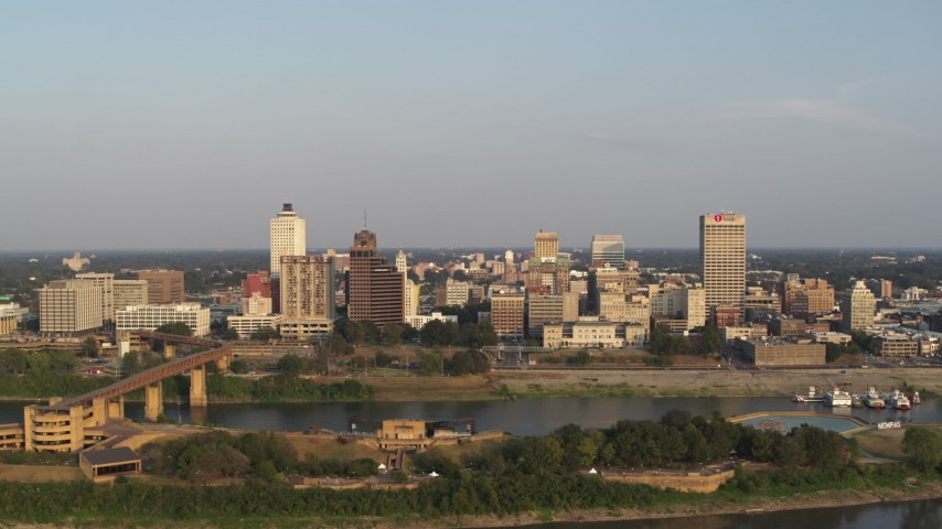 5.7K stock footage aerial video orbiting wide around the downtown skyline at sunset, Downtown Memphis, Tennessee Aerial Stock Footage | DX0002_186_011