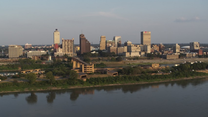 5.7K stock footage aerial video the downtown skyline at sunset, orbit museum, Downtown Memphis, Tennessee Aerial Stock Footage | DX0002_186_012