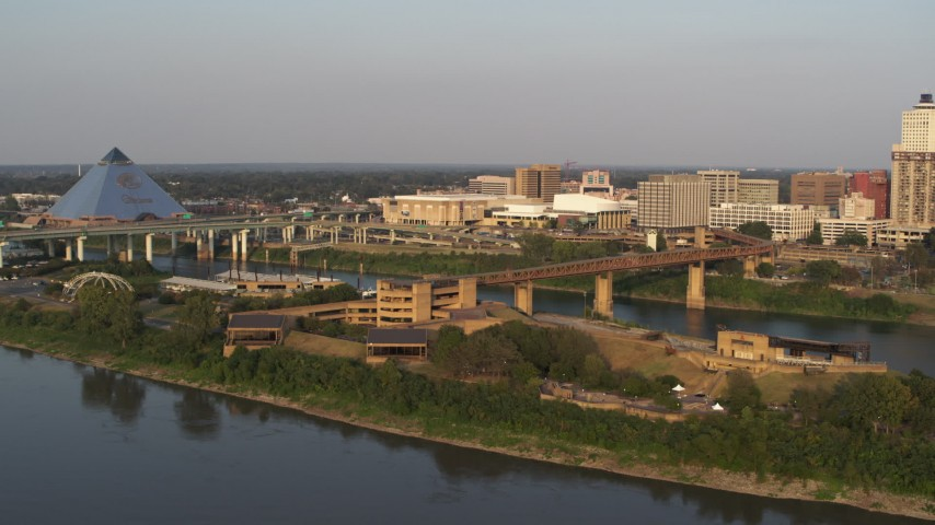 5.7K stock footage aerial video orbit and approach museum at sunset, Downtown Memphis, Tennessee Aerial Stock Footage   DX0002_186_013