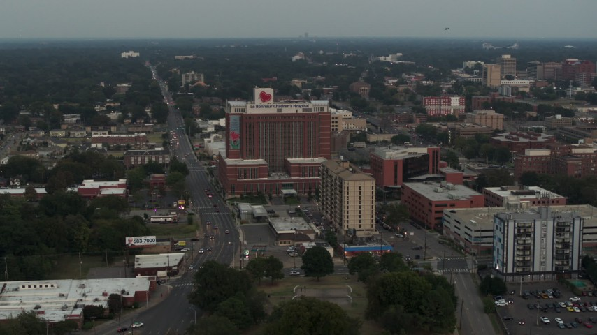 5.7K stock footage aerial video of orbiting a hospital at twilight in Memphis, Tennessee Aerial Stock Footage | DX0002_186_041