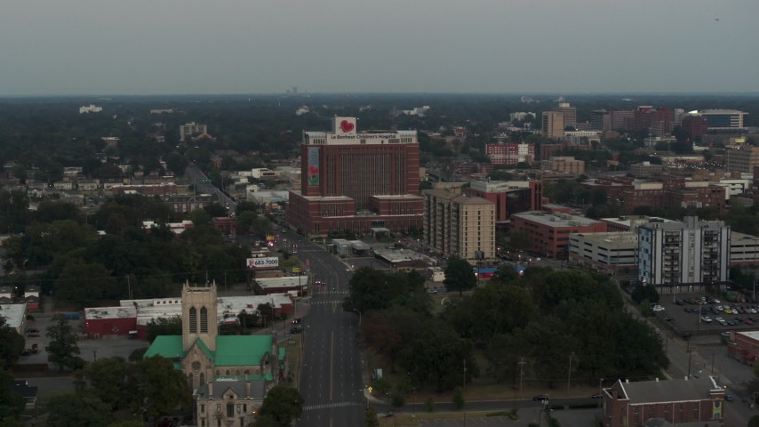 5.7K stock footage aerial video of an orbit of a hospital at twilight in Memphis, Tennessee Aerial Stock Footage | DX0002_186_043