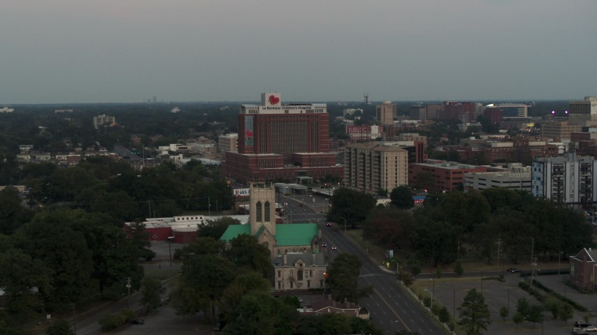 5.7K stock footage aerial video of circling a hospital at twilight in Memphis, Tennessee Aerial Stock Footage | DX0002_186_044