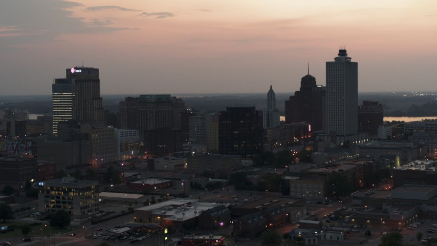 5.7K stock footage aerial video of the city's downtown skyline at twilight, Downtown Memphis, Tennessee Aerial Stock Footage | DX0002_187_002