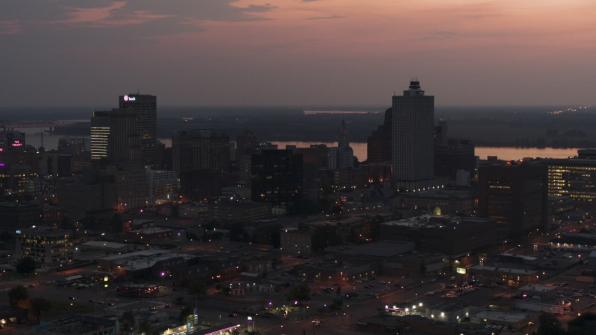 5.7K stock footage aerial video of an orbit of the city's downtown skyline at twilight, Downtown Memphis, Tennessee Aerial Stock Footage | DX0002_187_007