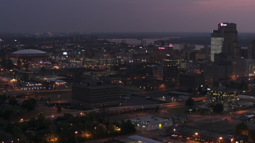 5.7K stock footage aerial video of AutoZone Park baseball stadium at twilight, Downtown Memphis, Tennessee Aerial Stock Footage | DX0002_187_015