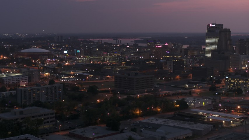 5.7K stock footage aerial video of an orbit of AutoZone Park baseball stadium at twilight, Downtown Memphis, Tennessee Aerial Stock Footage | DX0002_187_016