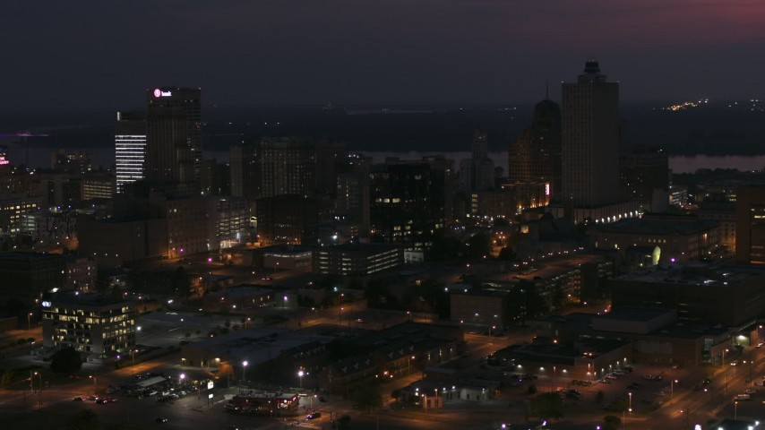 5.7K stock footage aerial video of downtown's dark skyline at night, Downtown Memphis, Tennessee Aerial Stock Footage | DX0002_187_025