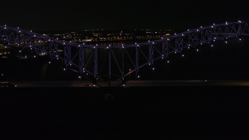 5.7K stock footage aerial video of an orbit of the bridge with purple lights at night, Memphis, Tennessee Aerial Stock Footage | DX0002_187_031