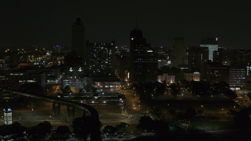5.7K stock footage aerial video orbit apartment and office high-rises at night, Downtown Memphis, Tennessee Aerial Stock Footage | DX0002_187_056