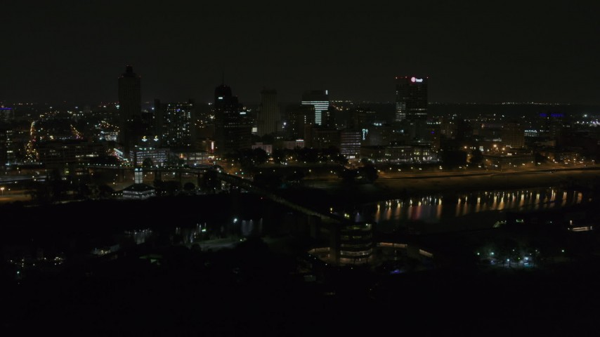 5.7K stock footage aerial video of circling the city's downtown skyline at night, Downtown Memphis, Tennessee Aerial Stock Footage | DX0002_187_059
