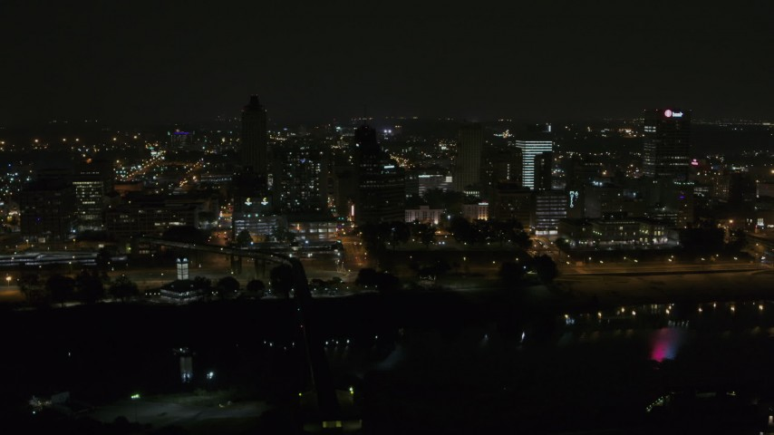5.7K stock footage aerial video an orbit of the downtown skyline at night, Downtown Memphis, Tennessee Aerial Stock Footage | DX0002_187_063