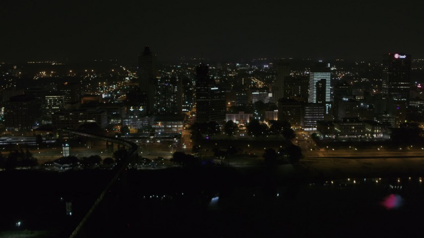 5.7K stock footage aerial video of orbiting the city's downtown skyline at nighttime, Downtown Memphis, Tennessee Aerial Stock Footage | DX0002_187_069