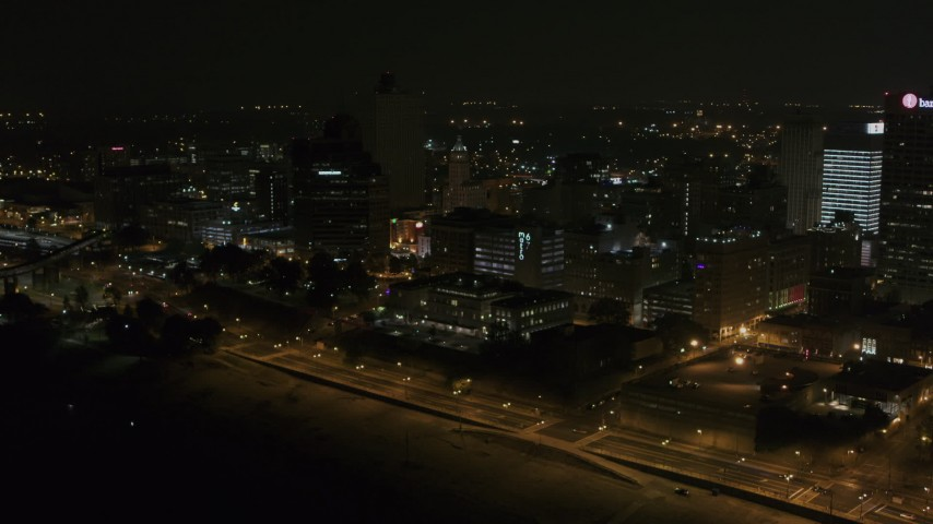 5.7K stock footage aerial video of orbiting the skyline at nighttime, Downtown Memphis, Tennessee Aerial Stock Footage | DX0002_187_074