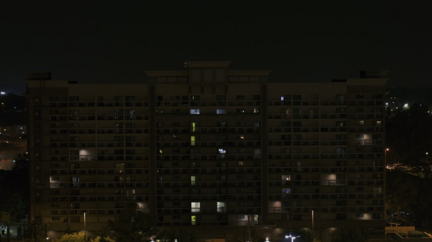 5.7K stock footage aerial video orbit an office building at nighttime, Memphis, Tennessee Aerial Stock Footage | DX0002_188_045