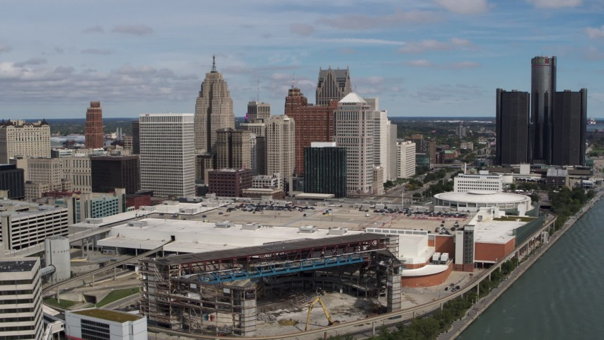 5.7K stock footage aerial video of a stationary view of the arena and skyline, Downtown Detroit, Michigan Aerial Stock Footage | DX0002_189_004