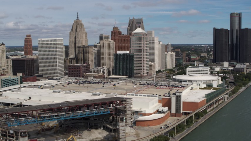 5.7K stock footage aerial video of the arena, convention center and skyline, Downtown Detroit, Michigan Aerial Stock Footage | DX0002_189_006