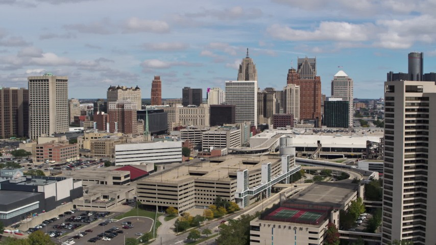 5.7K stock footage aerial video of flying by the city's skyline, Downtown Detroit, Michigan Aerial Stock Footage | DX0002_189_013