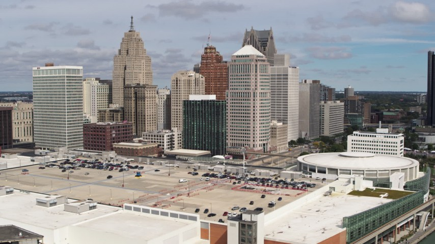 5.7K stock footage aerial video a stationary view of the city's skyline, Downtown Detroit, Michigan Aerial Stock Footage | DX0002_189_017