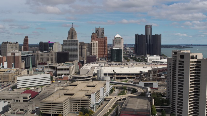 5.7K stock footage aerial video a stationary view of skyscrapers in Downtown Detroit, Michigan Aerial Stock Footage | DX0002_189_022