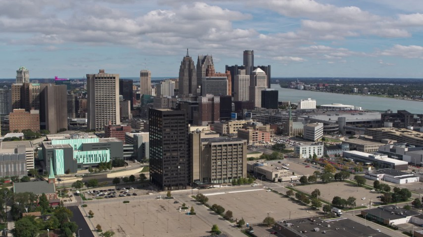 5.7K stock footage aerial video a view of skyline in Downtown Detroit, Michigan seen from office buildings Aerial Stock Footage | DX0002_189_025
