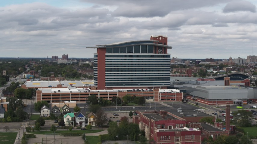 5.7K stock footage aerial video of orbiting the MotorCity Casino Hotel in Detroit, Michigan Aerial Stock Footage | DX0002_190_002