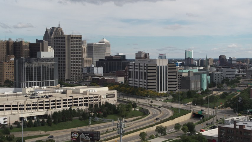 5.7K stock footage aerial video an orbit of the downtown police headquarters, Downtown Detroit, Michigan Aerial Stock Footage | DX0002_190_014