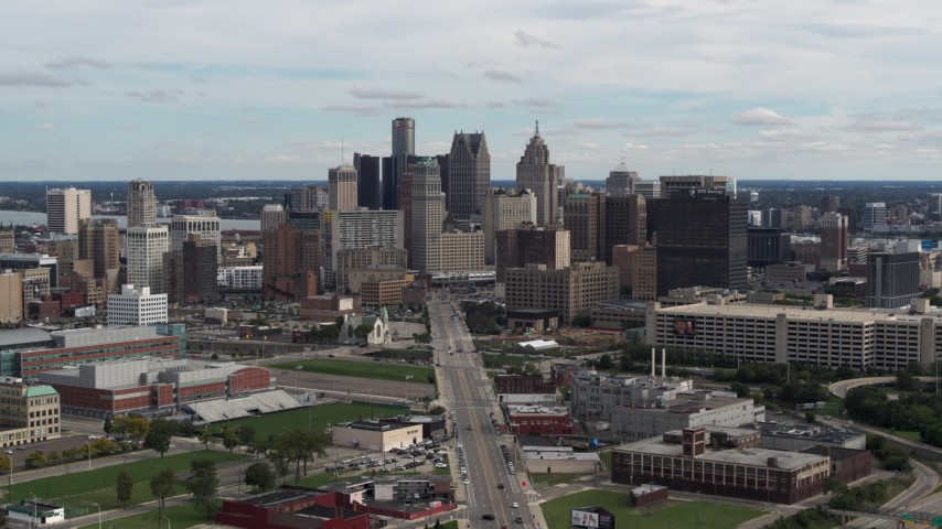 5.7K stock footage aerial video flyby the towering skyscrapers in the downtown skyline, Downtown Detroit, Michigan Aerial Stock Footage | DX0002_190_021