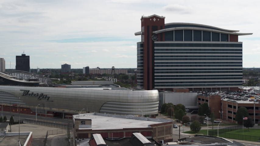 5.7K stock footage aerial video orbit of the MotorCity Casino Hotel in Detroit, Michigan Aerial Stock Footage | DX0002_190_027