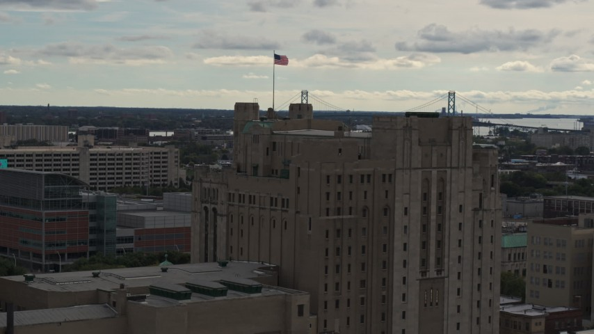 5.7K stock footage aerial video orbit the top of the Detroit Masonic Temple building, Detroit, Michigan Aerial Stock Footage | DX0002_190_043