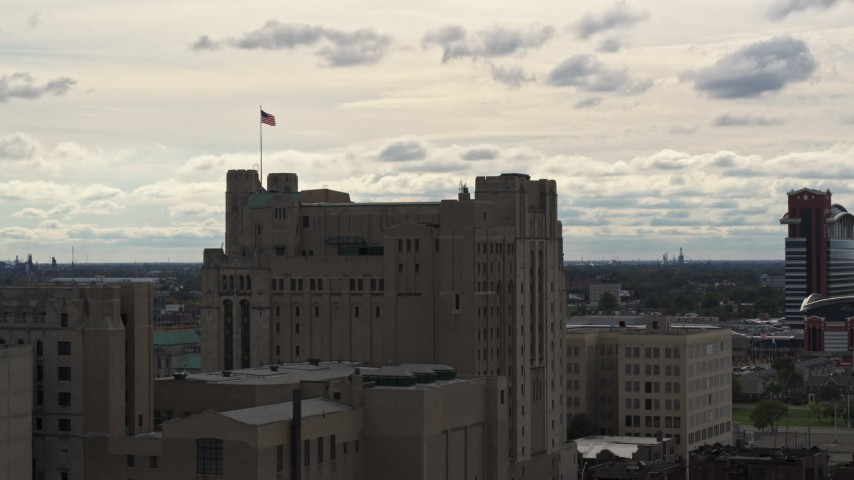 5.7K stock footage aerial video approach and orbit the Detroit Masonic Temple building, Detroit, Michigan Aerial Stock Footage | DX0002_190_045