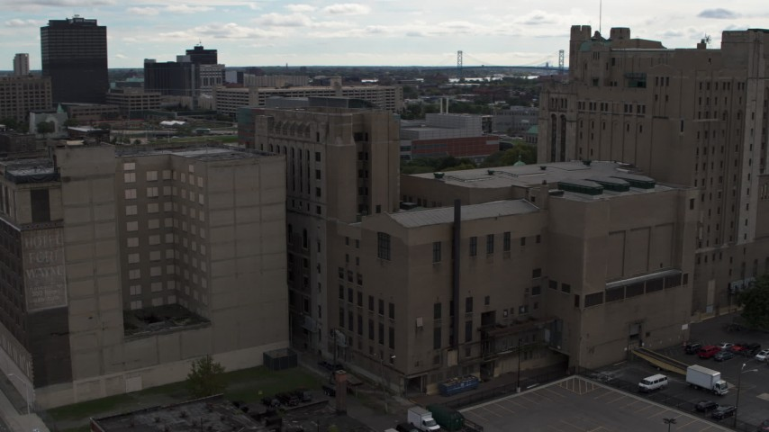 5.7K stock footage aerial video of orbiting the side of the Detroit Masonic Temple building, Detroit, Michigan Aerial Stock Footage | DX0002_191_005