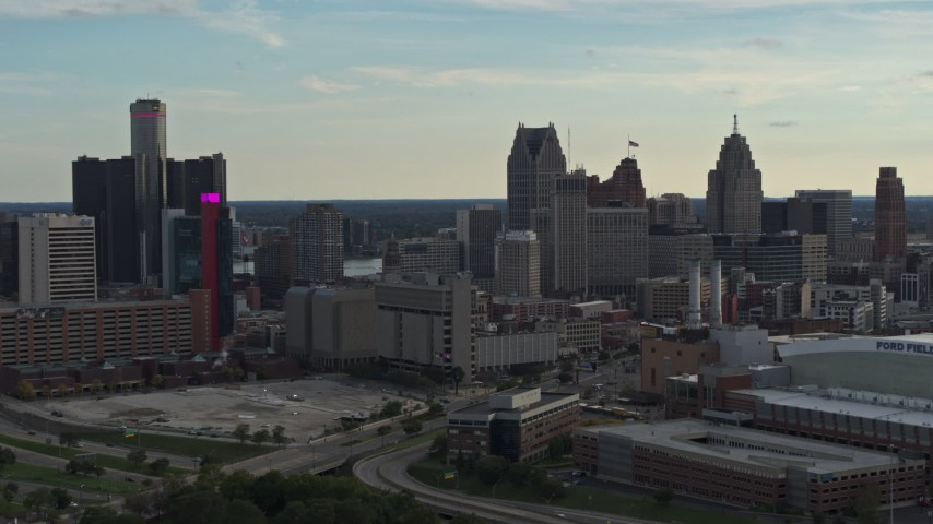 5.7K stock footage aerial video slow flyby of the city's skyline at sunset in Downtown Detroit, Michigan Aerial Stock Footage | DX0002_191_036